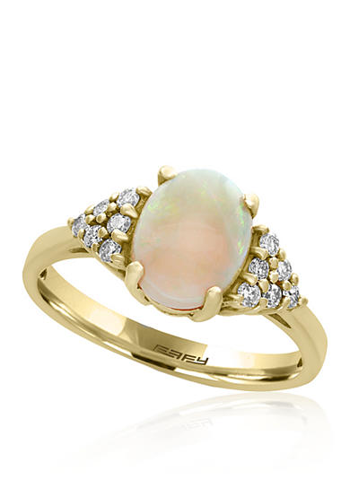 Effy® Opal and Diamond Ring in 14k Yellow Gold