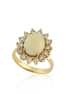 Effy Opal and Diamond Ring in 14K Yellow Gold