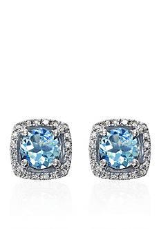 Effy Aquamarine & Diamond Stud Earrings in 14K White Gold