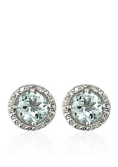 Effy Aquamarine & Diamond Stud Earrings in 14K White Gold