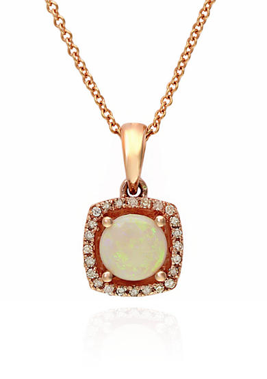 Effy® Opal and Diamond Pendant Necklace in 14k Rose Gold