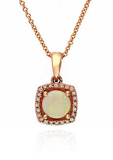 Effy Opal and Diamond Pendant Necklace in 14k Rose Gold