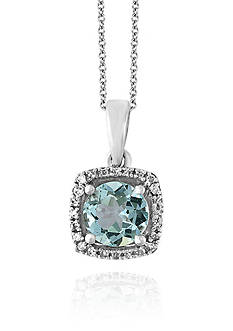 Effy® Aquamarine and Diamond Pendant in 14k White Gold