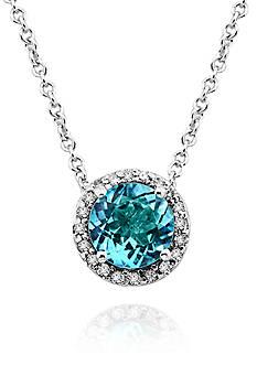Effy Blue Topaz and Diamond Pendant in 14k White Gold