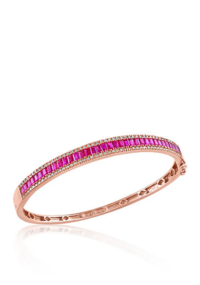 Effy® Baguette Ruby & Diamond Bangle in 14K Rose Gold