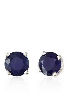 Effy Round Sapphire Earrings in 14K White Gold