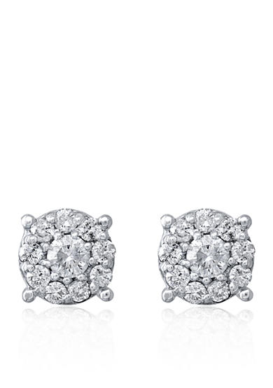 Effy® 0.50 ct. t.w. Diamond Cluster Button Earrings in 14K White Gold