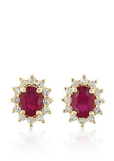Effy Oval Ruby & Diamond Earrings in 14K Yellow Gold