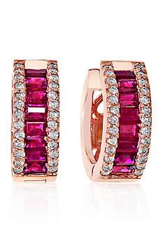 Effy Baguette Ruby & Diamond Earrings in 14K Rose Gold