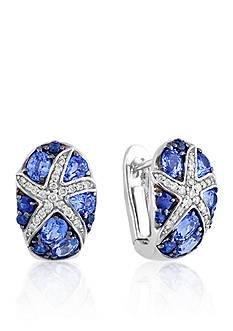 Effy Sapphire & Diamond Starfish Earrings in 14K White Gold
