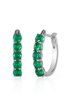 Effy Emerald Hoop Earrings in 14K White Gold