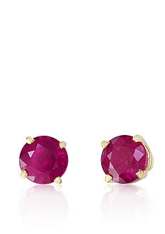 Effy Round Ruby Earrings in 14K Yellow Gold
