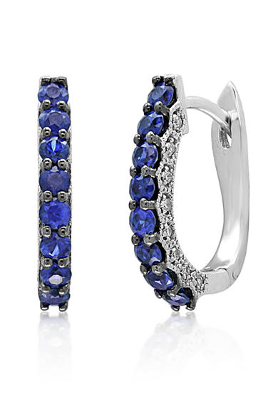 Effy® Sapphire & Diamond Hoop Earrings in 14K White Gold