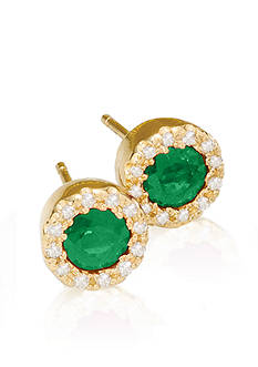 Effy Emerald and Diamond Earrings in 14K Yellow Gold