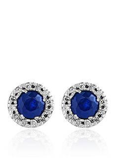 Effy Sapphire and Diamond Earrings in 14K White Gold
