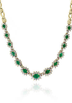 Effy Emerald and Diamond Necklace in 14K Yellow Gold