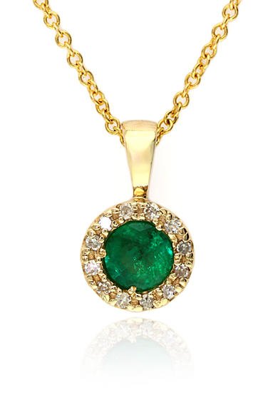 Effy® Emerald and Diamond Pendant Necklace in 14K Yellow Gold