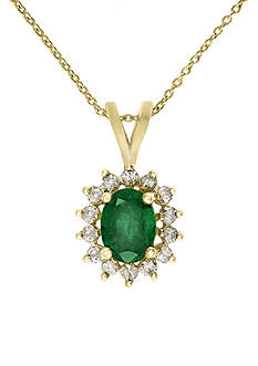 Effy Emerald and Diamond Pendant Necklace in 14k Yellow Gold