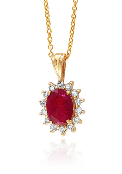 Effy® Oval Ruby & Diamond Necklace in 14K Yellow Gold