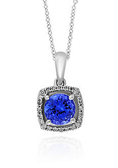 Effy Round Tanzanite & Diamond Pendant in 14K White Gold