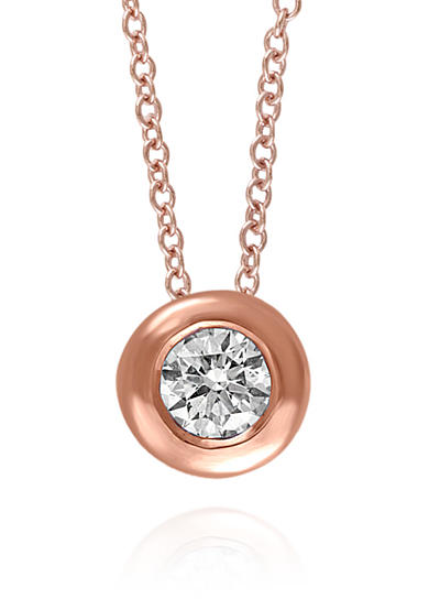 Effy® 0.20 ct. t.w. Diamond Solitaire Pendant in 14K Rose Gold