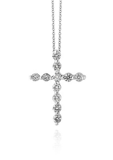 Effy® 0.50 ct. t.w. Diamond Pendant Cross Necklace in 14k White Gold