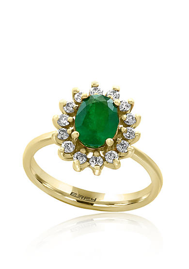 Effy® Emerald, and Diamond Ring in 14K Yellow Gold