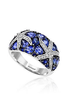 Effy Sapphire & Diamond Starfish Ring in 14K White Gold