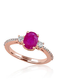 Effy Ruby and Diamond Ring in 14k Rose Gold