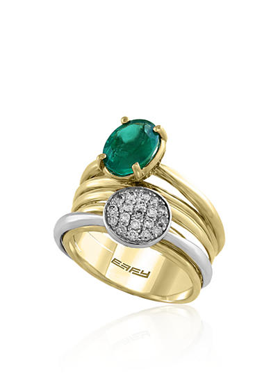Effy® Emerald and Diamond Ring in 14K Yellow Gold