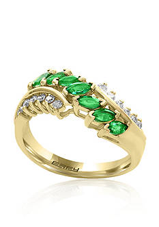 Effy Emerald and Diamond Ring in 14K Yellow Gold