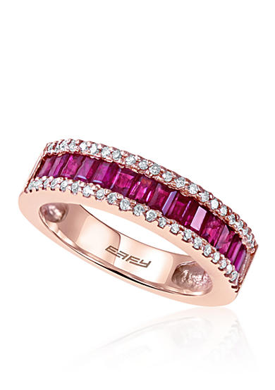 Effy® Baguette Ruby & Diamond Ring in 14K Rose Gold