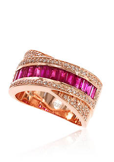 Effy Baguette Ruby & Diamond Ring in 14K Rose Gold