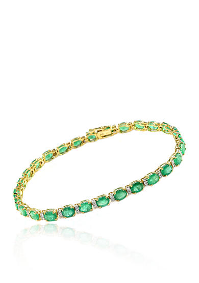 Effy® Emerald and Diamond Bracelet in 14K Yellow Gold
