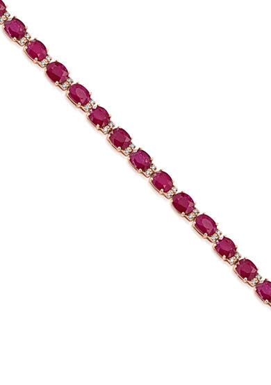 Effy® Oval Ruby & Diamond Bracelet in 14K Rose Gold