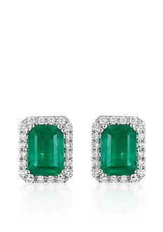 Effy Emerald and Diamond Earrings in 14K White Gold