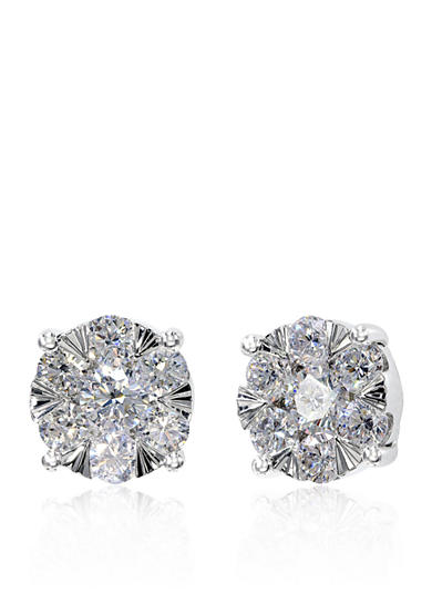 Effy® 0.84 ct. t.w. Diamond Cluster Earrings in 14K White Gold