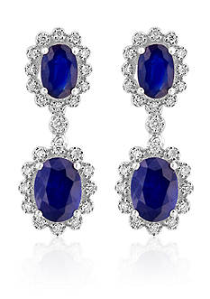 Effy Oval Sapphire & Diamond Drop Earrings in 14K White Gold
