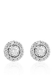 Effy 0.43 ct. t.w. Diamond Halo Stud Earrings in Sterling Silver