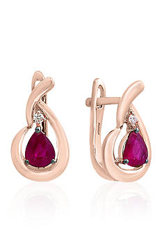 Effy Ruby and Diamond Earrings in 14k Rose Gold