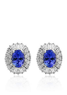 Effy Tanzanite and Diamond Earrings in 14K White Gold
