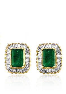 Effy Emerald and Diamond Earrings in 14K Yellow Gold