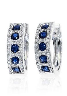 Effy Round Sapphire & Diamond Hoop Earrings in 14K White Gold