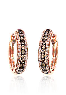 Effy Espresso and White Diamond Hoop Earrings in 14K Rose Gold