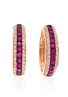 Effy Ruby & Diamond Earrings in 14K Rose Gold