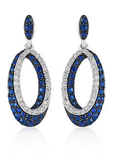 Effy Sapphire & Diamond Drop Earrings in 14K White Gold