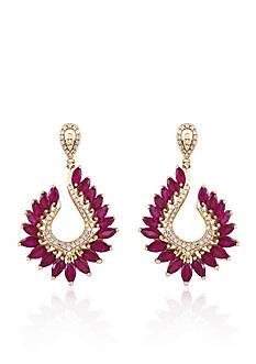 Effy Ruby & Diamond Drop Earrings in 14K Yellow Gold