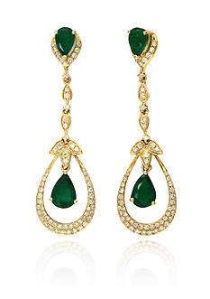 Effy Emerald and Diamond Drop Earrings in 14K Yellow Gold