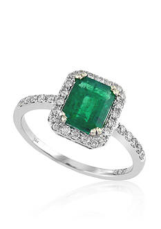 Effy Emerald and Diamond Ring in 14K White Gold