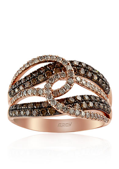 Effy® 1.04 ct. t.w. Espresso and White Diamond Swirl Ring in 14K Rose Gold